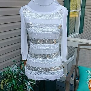 Beautiful white top with sequins